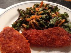 Baked Crispy Buffalo Chicken and Avocado Kale Carrot Salad