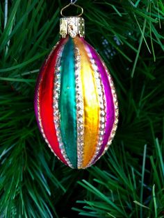 Vintage CHRISTMAS ORNAMENT MULTI COLOR ~GERMANY ~ Glass Christmas Tree Ornament