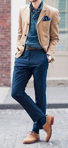 Tap into refined, elegant style with a blue denim jacket and blue dress pants. This outfit is complemented perfectly with tan suede derby shoes. Shop this look for $267: http://lookastic.com/men/looks/pocket-square-scarf-denim-jacket-blazer-belt-watch-dress-pants-socks-derby-shoes/5805 — Navy Polka Dot Pocket Square — Navy Print Silk Scarf — Blue Denim Jacket — Tan Cotton Blazer — Dark Brown Leather Belt — Brown Leather Watch — Blue Dress Pants — Blue Socks — Tan Suede Derby Shoes ...