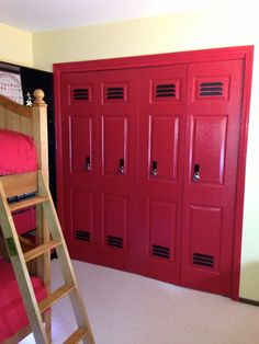 Closets made to look like lockers. Great sports themed room idea