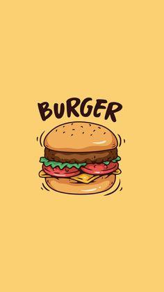 [ It's my burger ] Cute Food Wallpaper, Wallpaper Iphone Cute, Aesthetic Iphone Wallpaper, Cartoon Wallpaper, Cute Wallpapers, Wallpaper Backgrounds, Aesthetic Wallpapers, Iphone Backgrounds, Phone Wallpapers