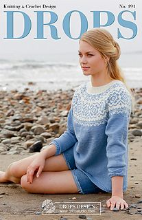 Periwinkle - Knitted sweater with round yoke, multi-colored Nordic pattern and A-shape. Size: S - XXXL Piece is knitted in DROPS Merino Extra Fine. - Free pattern by DROPS Design Fair Isle Knitting Patterns, Fair Isle Pattern, Sweater Knitting Patterns, Knit Patterns, Free Knitting, Sweaters Knitted, Finger Knitting, Cardigan Pattern, Jacket Pattern