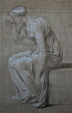 David - Study for the Oath of the Horatii - Sabina Jacque Louis David, Realistic Drawings, Art Drawings, Drapery Drawing, Wolves And Women, Grisaille, Drawing Projects, Anatomy Drawing, Old Master