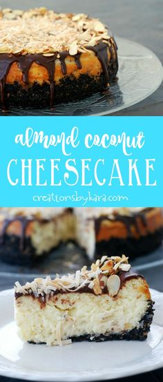 This Almond Coconut Cheesecake is a piece of heaven in every bite! If you love Almond Joy candy bars, you need to try this cheesecake recipe. via creationsbykara.com