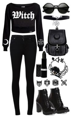"""""""Nu Witch In Town"""" by psycho-doodle-bug ❤ liked on Polyvore featuring Killstar, Citizens of Humanity, Topshop, Boohoo, Jeffrey Campbell and ZeroUV"""