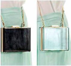 Rare Acrylic Transparent Translucent Clutch Purse Bag Chain Bag Clear Black