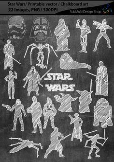 Star Wars/ printable star wars silhouette /Star wars chalkboard / chalkboard art…