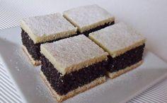 Mákos kocka 'Poppy Seed Cake' Very good old-fashioned recipe. Hungarian Desserts, Hungarian Cake, Hungarian Cuisine, Ukrainian Recipes, Croatian Recipes, Hungarian Recipes, Russian Recipes, Hungarian Food, Coconut Recipes