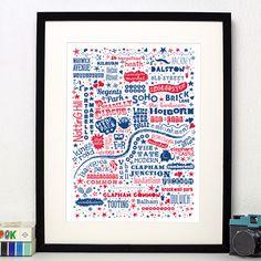'I Love You London' Print  #GiftsforHer #Giftideasforher #home #interiors #design #London #love #wedding #weddinggiftideas #wallart #illustration #screenprint #typography