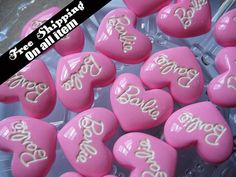 25 x 22mm Plain Barbie Heart Cabochons Flatback // Pink , 10 pc on Etsy, £2.40