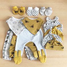 Grey bee honeybee print dungarees long length handmade JennyWrenCraft unisex gender neutral baby girl baby boy gift