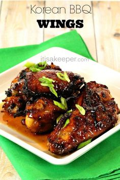 These easy Korean BBQ wings are one of the BEST easy appetizer recipes you can make! It& perfect party food or football food and one of my favorite easy recipes! Chicken Wing Marinade, Chicken Wing Recipes, Chicken Drumsticks, Chicken Thighs, Grilling Recipes, Cooking Recipes, Grilling Tips, Cooking Tips, Grilled Chicken Wings