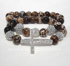 New handmade sideways cross bracelets, one of a kind beads