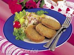 Rántott zeller hússalátával recept Zeller, Tacos, Mexican, Meat, Chicken, Ethnic Recipes, Food, Essen, Meals