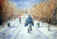"""""""in bici nel parco,Milano"""" acquerello di Lorenza Pasquali Paintings 35x51 www.lorenzapasquali.it  Copyright © Lorenza Pasquali —"""