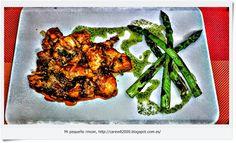 Mi pequeño rincon: Pollo con tomate y espárragos a la plancha