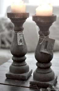 MY TIPS: Burn your candles to the height you want then use the mini battery candles in them! Vintage chic: Lysestaker i betong/ cool candle holders Pillar Candle Holders, Candlestick Holders, Candlesticks, Candle Stands, Candleholders, Best Candles, Diy Candles, Pillar Candles, Battery Candles