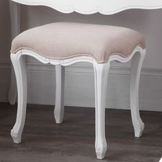 JULIETTE Shabby Chic Antique White Upholstered Stool, French stool with cushion