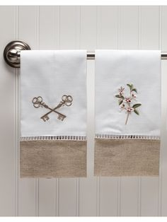 Beautiful ladder lace embroidered guest towels for your home. Shop now for your family and friends!