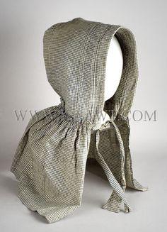 19th Century Corded Bonnet, Blue & White Homespun Cotton, Antique Associates, West Townsend, MA