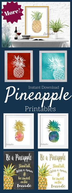 Even more Pineapple printables! Perfect alone or in a gallery wall. goldfoil, watercolor, tropical art print #pineapple #printable #ad #etsyseller