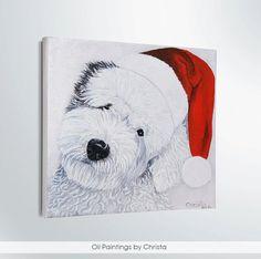 Custom dog portrait Christmas dog Christmas by OilpaintingsChrista