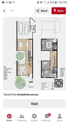 Narrow House Designs, Narrow Lot House Plans, Modern Floor Plans, Modern House Plans, Courtyard House Plans, Facade House, Hexagon House, Architectural Floor Plans, Small House Exteriors