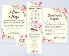 Kit Casamento Floral - Digital    Kit contém:  Convite (15x21)  Convite individual (5x5)  Cartão de agradecimento (15x21)  Save the date (10x15)  Menu (10x21)    Pode ser feitos em outros modelos e tamanhos.    Nada é enviado pelos Correios, todos os produtos da loja são enviados por e-mail (arte...