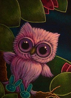 Art: SPRING TINY OWL WITH EASTER BUNNY SLIPPERS by Artist Cyra R. Cancel