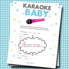 The Party Stork has tons of fun Girl or Boy Baby Shower Games. Try our fun Karaoke Baby Shower Game. This is a printable baby shower game. Fiesta Baby Shower, Baby Shower Niño, Shower Bebe, Shower Party, Baby Shower Parties, Baby Shower Gifts, Bridal Shower, Games For Boys, Baby Games