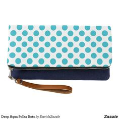 Deep Aqua Polka Dots Clutch Bag   Available on many products! Hit the 'available on' tab near the product description to see them all! Thanks for looking!     @zazzle #art #polka #dots #shop #chic #modern #style #circle #round #fun #neat #cool #buy #sale #shopping #men #women #sweet #awesome #look #accent #fashion #clothes #apparel #tote #bag #accessories #accessory #compact #mirror #hand #purse #clutch #cosmetic #makeup #messenger #bicycle #aqua #blue #light #dark #white