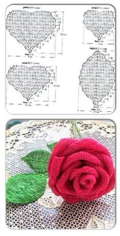 Roses are very symbolic flowers and we know them as queens of flowers. They are in nature in different colors and Roses are very symbolic flowers and we know them as queens of flowers. They are in nature in different colors and Crochet Leaf Patterns, Crochet Leaves, Crochet Diagram, Crochet Chart, Crochet Motif, Crochet Designs, Crochet Flowers, Crochet Stitches, Knitting Patterns