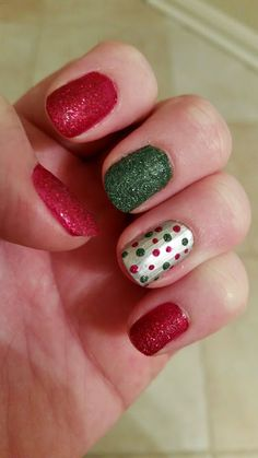First Christmas manicure of the season! Hopefully I can squeeze in one or two more before the baby comes! :D Sparkly!