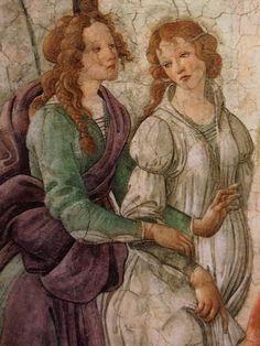 Venus and the Three Graces Presenting Gifts to a Young Woman (detail) - Sandro Botticelli Sandro, Giorgio Vasari, Renaissance Portraits, Renaissance Paintings, Italian Painters, Italian Artist, Italian Renaissance, Renaissance Art, La Madone