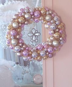 Vintage Pink Glass Christmas Ornaments Wreath