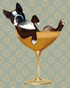 Boston Terrier 14x11 in Cocktail Glass boston terrier print, dog gift, dog lover, picture painting illustration art picture poster drawing on Etsy, $36.00