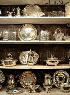 Silver plate serving pieces, glass & crystal | Old Lucketts Store - Fresh Off the Wagon