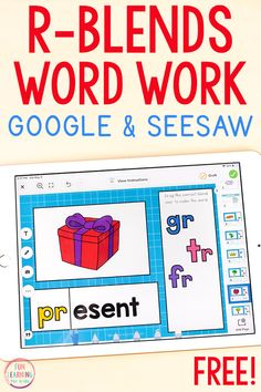 A free r-blends phonics activity for teaching kids to read with Google Slides and Seesaw. Perfect for kindergarten, first grade, and second grade. First Grade Phonics, Teaching First Grade, First Grade Reading, First Grade Classroom, Teaching Reading, Teaching Kids, Fun Learning, Phonics Games Online, Phonics Activities