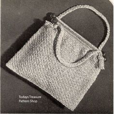 Vintage Crochet Utility Bag Pattern .    A perfect small tote to carry around your crochet or knitting project.   This pattern is available as a FREE Download at Vintage Knit Crochet Pattern Shop