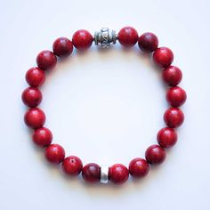 Men's Bracelet  Red Coral with Sterling Silver by winkandbauble, $42.50
