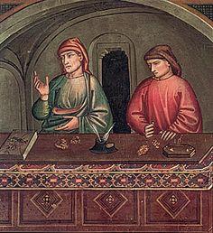 Niccolò di Pietro Gerini  - Storie di S. Matteo: I cambiavalute - affresco - 1400 ca. -  Cappella Migliorati, Chiostro Chiesa di San Francesco - Prato
