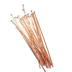 Antique Copper Plated Head Pins, 2 Inch, 21 Gauge, Bag of 10