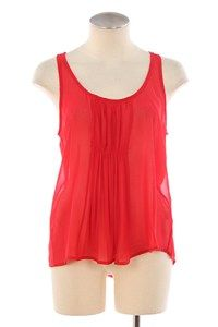 Sheer. Peach. Coral. Pink. Gathered Front. Summer. sleeveless. Tank Top