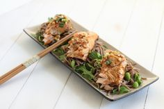 Grilled Salmon with a soy lemon sauce on a bed of Soba noodles