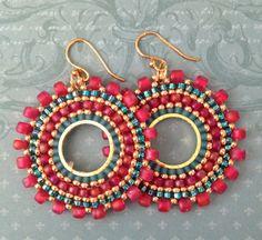 Beaded Small Hoop Earrings Aqua Berries Red and Aqua Seed Bead Earrings Beadwork…