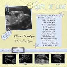Great Poem for Baby Ultrasound scrapbook page