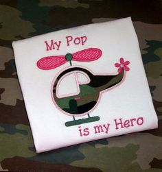 Girls Helicopter Camo Applique Monogrammed by BlumersEmbroidery,  https://www.etsy.com/listing/185483389/helicopter-camo-applique-monogrammed