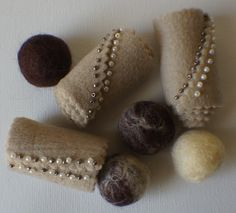 Felt Beads Extra large Beads Brown shades by FashionTouchSupplies