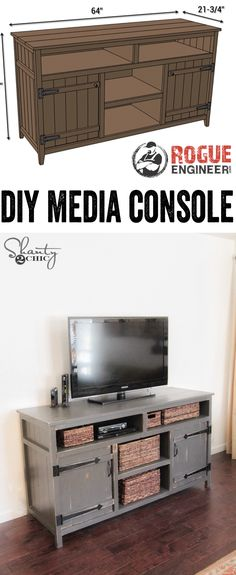 Love the doors on this. LOVE this DIY Media Console! Free Plans and tutorial! www.shanty-2-chic.com