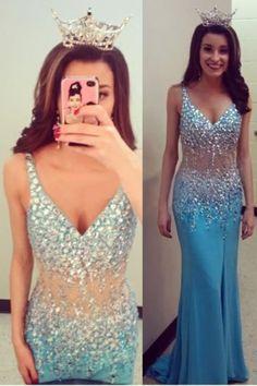 Charming Prom Dress,V-Neck Prom Dress,Sexy Mermaid Prom Dress,Beading Prom Dress,Tulle Prom Dress